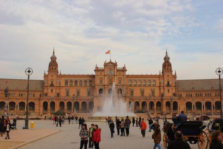 Grand Plaza de Espana in Seville, Spain