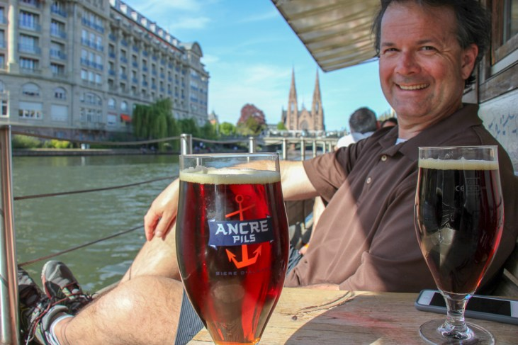 Drinking beers at Cafe Atlantico in Strasbourg, France