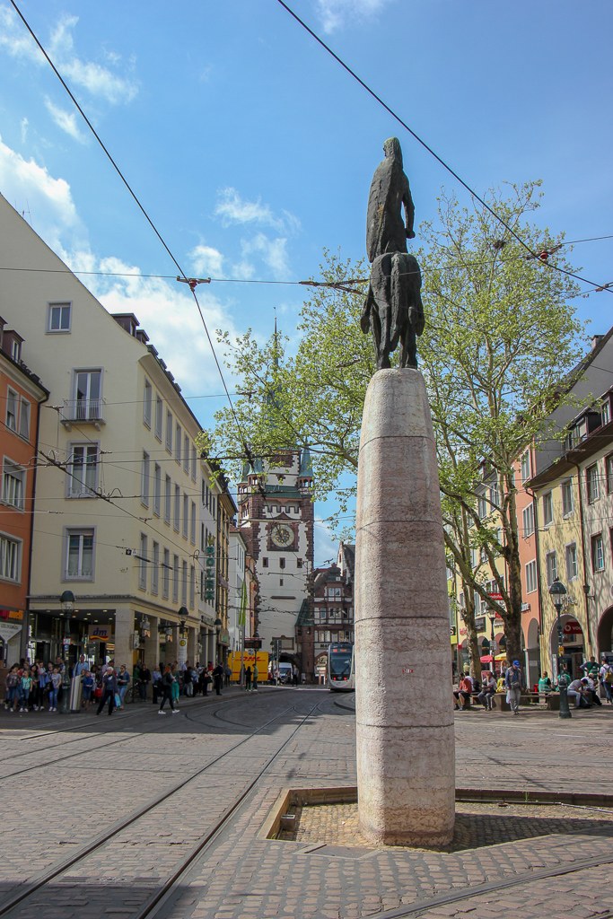Bertoldsbrunnen Equestrian Statue Monument in Old Town Freiburg, Germany