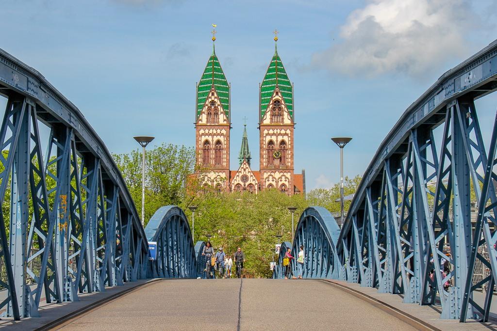 Herz Jesu Kirche at end of Blue Bridge in Freiburg, Germany