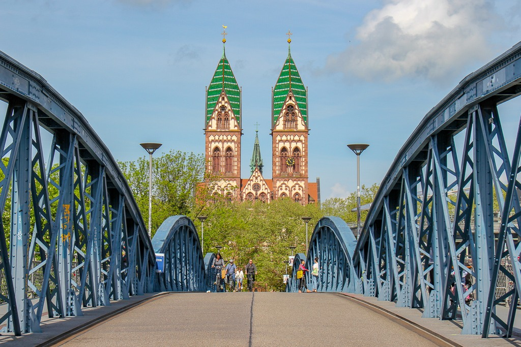Herz Jesu Kirche at end of Blue Bridge in Freiburg, Germany