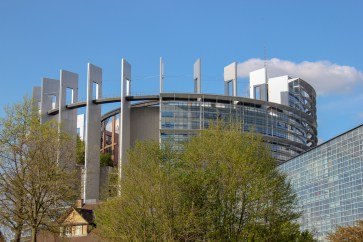 Modern European Parliament Building in Strasbourg, France