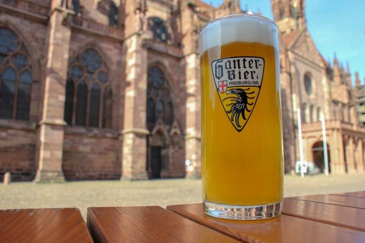 Beer at Ganter Brauereiausschank on Munsterplatz in Freiburg, Germany