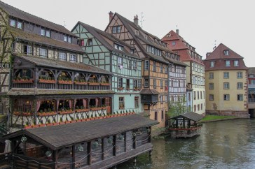 Half-timbered houses on river in Petite France in Strasbourg, France