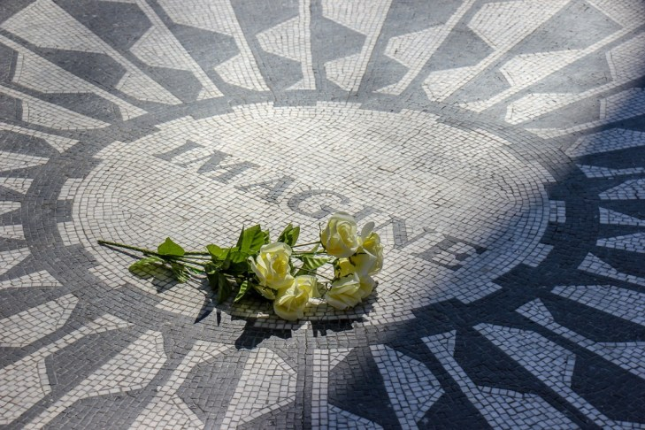 Tile mosaic Imagine at Strawberry Fields in Central Park in New York City, New York