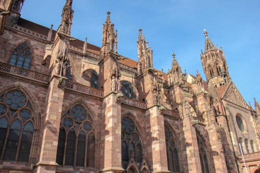 Gothic details on Freiburg Minster Cathedral in Freiburg, Germany