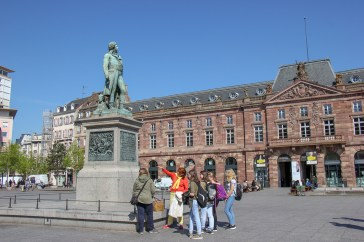Statue of Kleber and Aubette Building on Kleber Square in Strasbourg, France