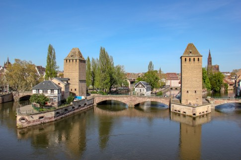 Ponts Couverts bridge and towers in Petite France in Strasbourg, France