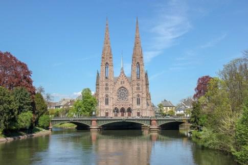 St. Paul's church spires in Strasbourg, France