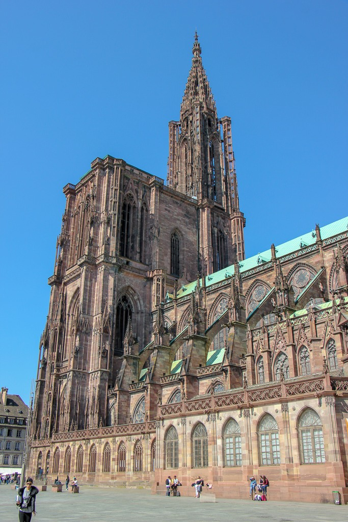 Soaring spire of Strasbourg Cathedral in Strasbourg, France