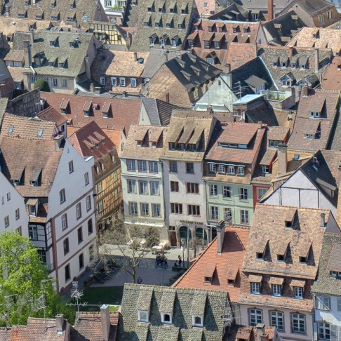 Iconic Strasbourg rooftops seen from Cathedral Platform in Strasbourg, France