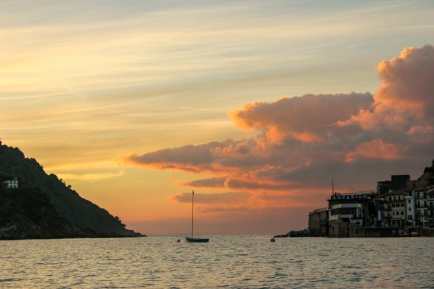 Setting sun over La Concha Bay in San Sebastian, Spain