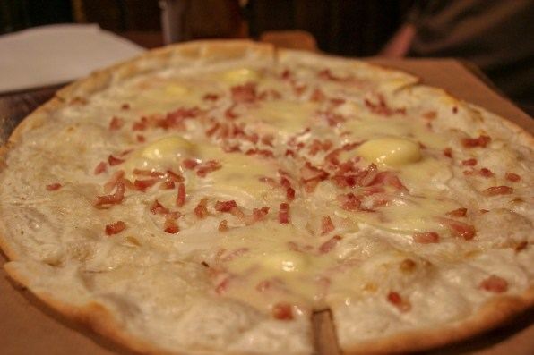 Munster cheese tarte flambee at Academy of Beer in Strasbourg, France
