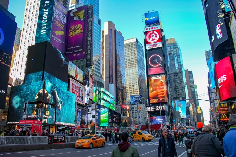 Electronic billboards in Times Square in New York City, New York