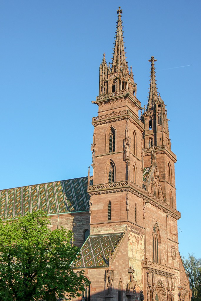Basler Munster Cathedral bell towers in Basel, Switzerland