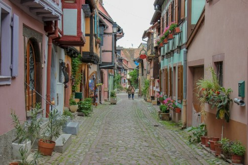 Colorful lane in Old Town Eguisheim, France