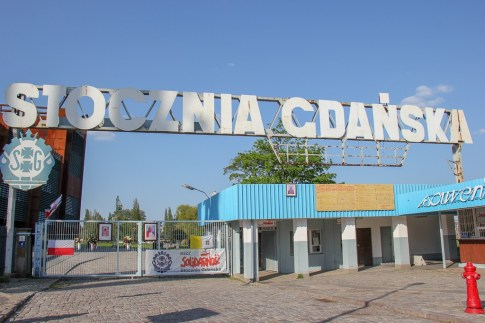 Preserved Gate 2 to shipyard featured at European Solidarity Center in Gdansk, Poland