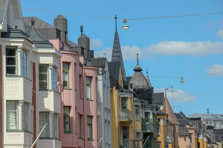 Huvilakatu Street, the most colorful street in the city, in Eira district in Helsinki, Finland