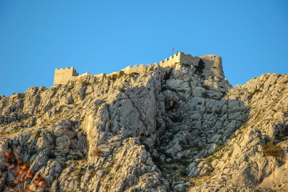 View up to the fortress from Omis, Croatia