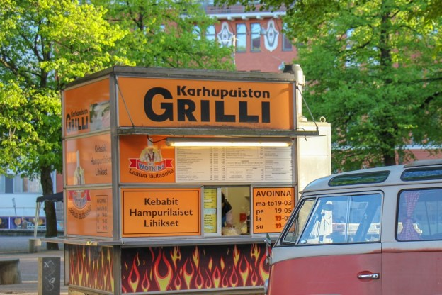 Famous hot dog stand, Karhupuiston Grilli, in Kallio District in Helsinki, Finland