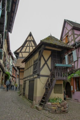 Narrow lane in Old Town Eguisheim, France
