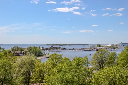 View of sea and islands from Kaivopuisto Hill in Helsinki, Finland