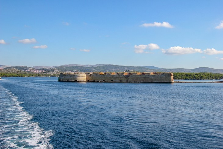 water view of St Nicholas Fortress, Sibenik, Croatia