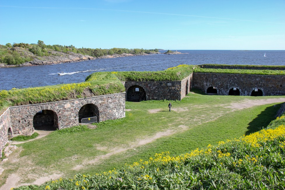 Protective walls and tunnels at Suomenlinna Fortress in Helsinki, Finland