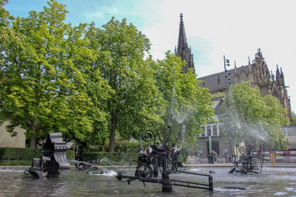 Moving Tinguely Fountain on Theaterplatz in Basel, Switzerland