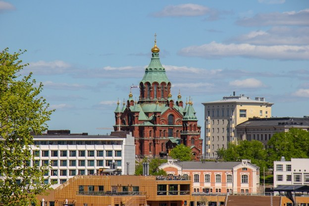 Red Uspenski Orthodox Cathedral and Allas Sea Pool in Helsinki, Finland