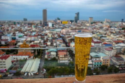 Beer with a view at SIM Boutique Hotel in Phnom Penh, Cambodia