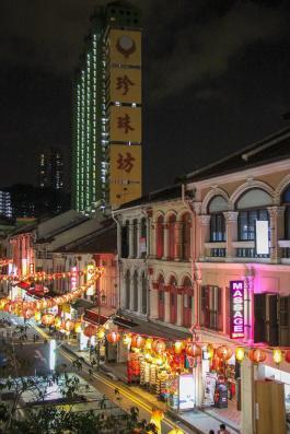 Singapore Chinatown lit up at night