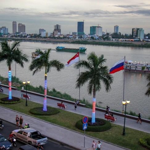 Views of Tonle Sap River at sunset in Phnom Penh, Cambodia