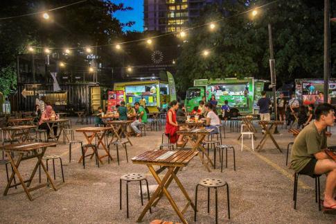 Food trucks at Tapak Urban Street Dining in Kuala Lumpur, Malaysia
