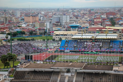 Olympic Stadium view from SIM Boutique Hotel in Phnom Penh, Cambodia