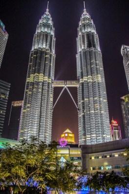 Petronas Towers at night in Kuala Lumpur, Malaysia