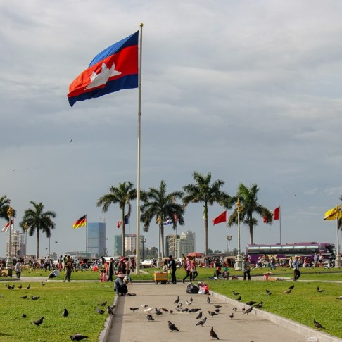 Cambodian flag flying over Royal Palace Park in Phnom Penh, Cambodia
