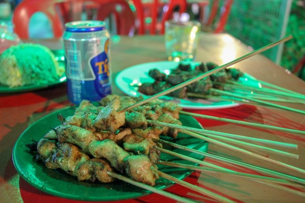 Chicken satay sticks at Mongolian BBQ in Kuala Lumpur, Malaysia