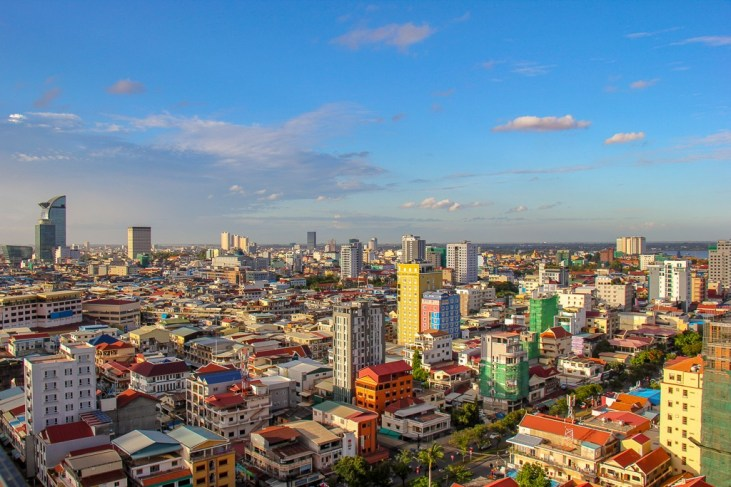 City skyline views from rooftop deck at SIM Boutique Hotel in Phnom Penh, Cambodia