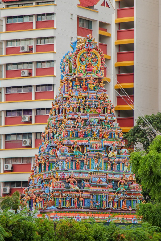 Detailed tower at Sri Srinivasa Perumal Temple in Little India Singapore