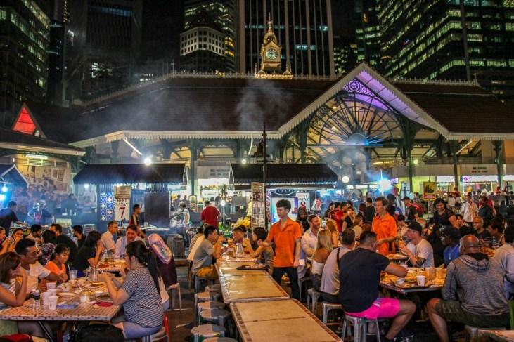 Historic Telok Ayer (Lau Pa Sat) Market and Satay Club in Downtown Singapore
