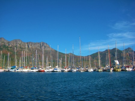 Sailboats at Marina in Hout Bay in Cape Town, South Africa