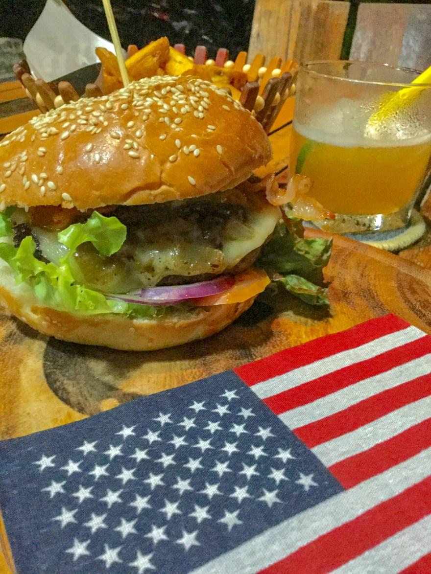 Lucky 13 Cheeseburger at Kamala Beach on Phuket, Thailand