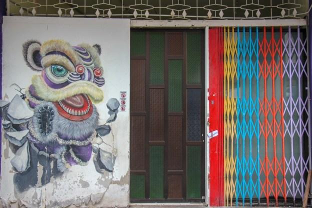 Festive character street art mural in Geroge Town, Penang, Malaysia
