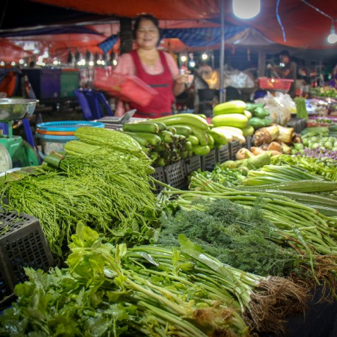 Fresh green vegetables for sale at Friday Night Market in Kamala Beach on Phuket, Thailand