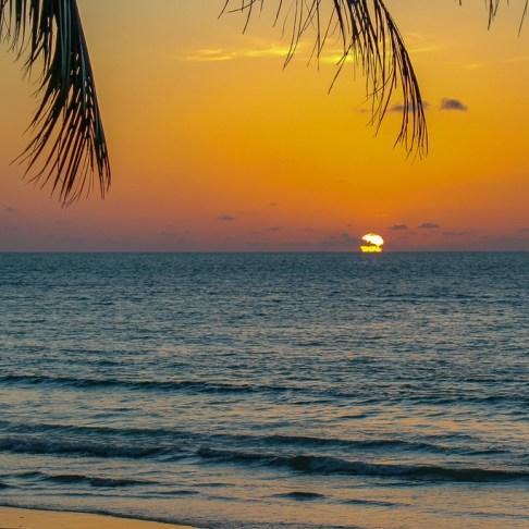 Orange sky sunset at Kamala Beach on Phuket, Thailand