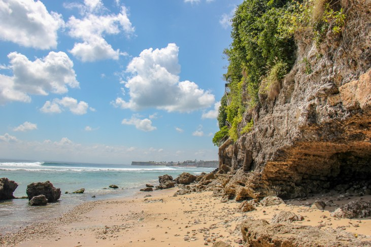 Rocky terrain at Impossible Beach in Uluwatu, Bali, Indonesia