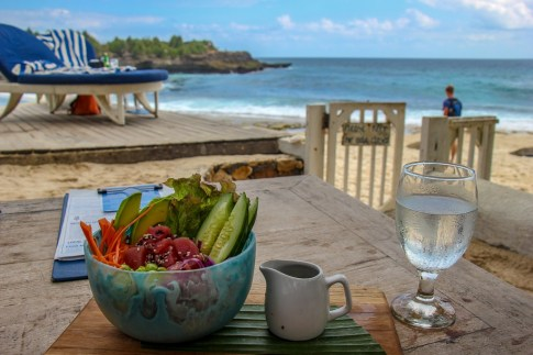 Fresh tuna poke bowl at Sandy Bay Beach club on Nusa Lembongan, Bali, Indonesia