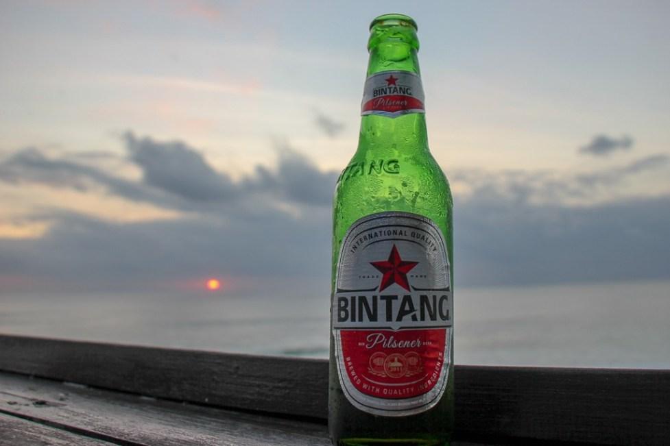Bingtang Beer at sunset in Uluwatu, Bali, Indonesia