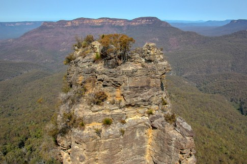 First of Three Sisters rock formations at Blue Mountains NP NSW in Sydney, Australia